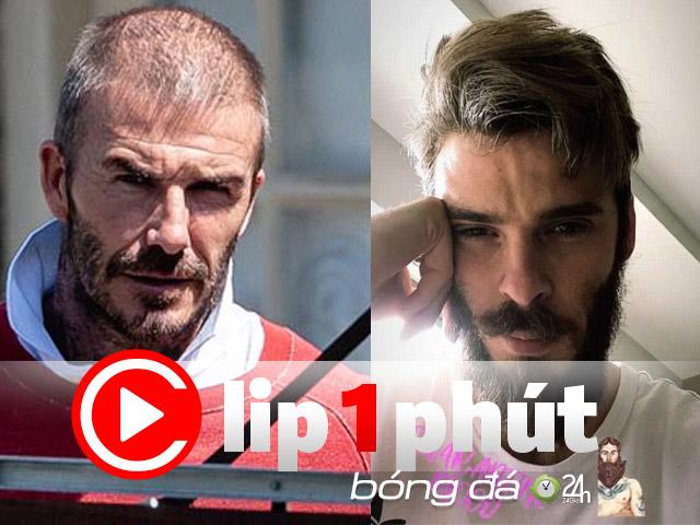 """SAO MU """"lột xác"""" khó tin, nam thần Beckham biến dạng đầu hói (Clip 1 phút Bóng đá 24H)"""
