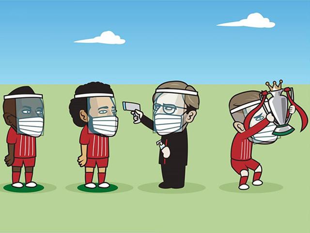 """Ảnh chế: Cầu thủ Liverpool phòng dịch an toàn chuẩn bị tinh thần """"nâng cúp"""""""