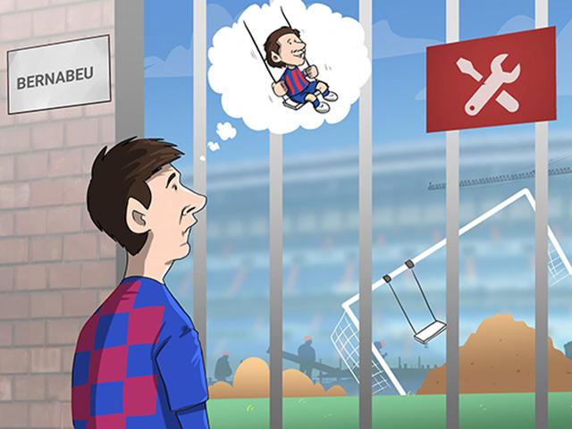 """Ảnh chế: Messi tiếc nuối khi không được vui chơi trên """"sân tập"""" Bernabeu"""