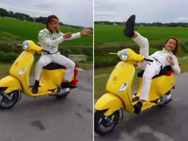 CSGT Thanh Hóa xác minh clip buông tay, bịt mắt lái xe máy
