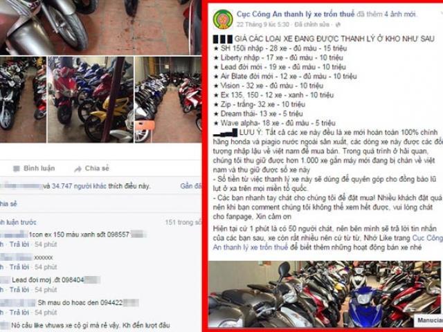 """Facebook lấy tên """"Cục Công An"""" bán xe SH 15 triệu là lừa đảo"""