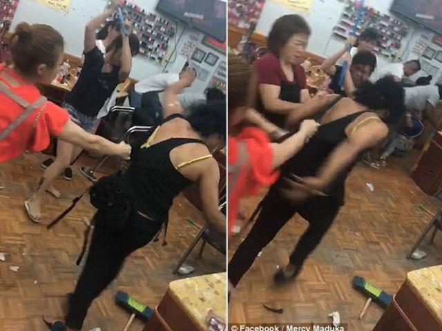 Làm trụi lông mày khách hàng, nhân viên còn cầm chổi đánh tới tấp