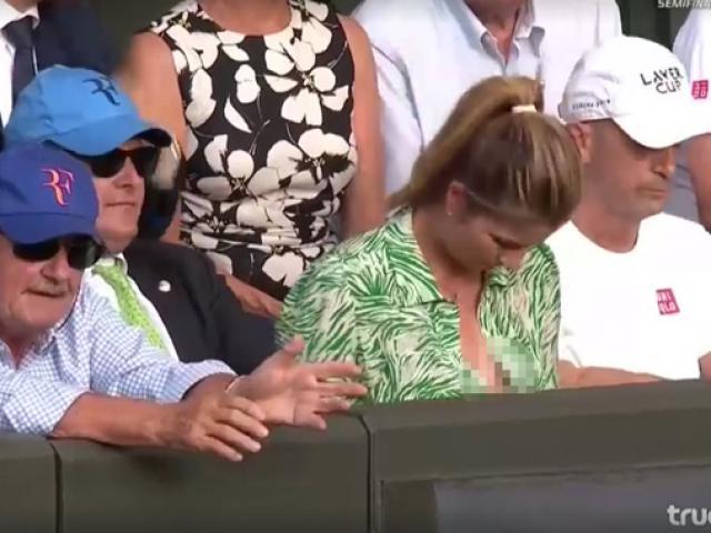 Đỏ mặt ở Wimbledon: Vợ Federer cổ vũ quá sung, hết hồn bung cúc áo
