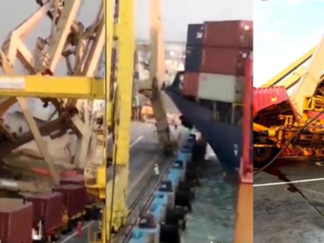 Tai nạn kinh hoàng khi tàu chở container lao thẳng vào cần trục khổng lồ