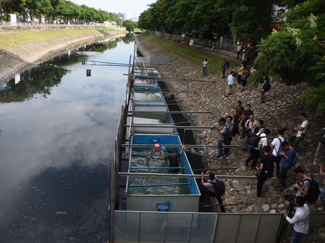 Clip: Xem chuyên gia Nhật Bản bơi lội, gội đầu bằng nước sông Tô Lịch