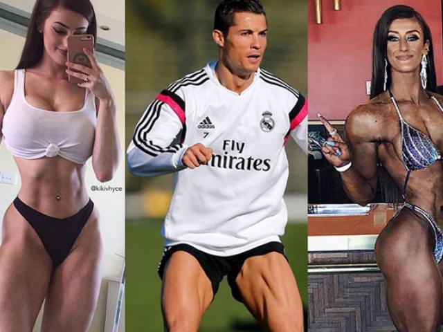 """Nữ lực sĩ có eo """"đồng hồ cát"""" mặt đẹp như hoa khôi, đùi to hơn Ronaldo"""