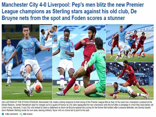 Liverpool thua thảm Man City: Báo Anh chê tơi tả tân vương Ngoại hạng Anh