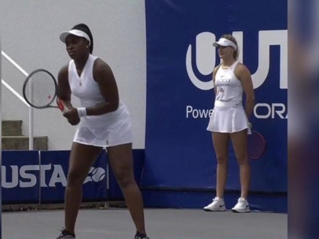"""Mỹ nhân Bouchard """"hết thời"""" chuyển sang làm cô gái nhặt bóng tennis"""