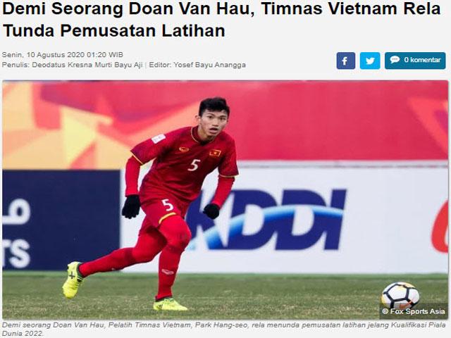 """Báo Indonesia """"cà khịa"""" Văn Hậu: Vẫn cay cú vì pha """"đốn giò"""" ở SEA Games 30?"""