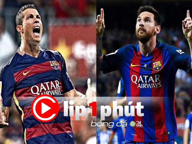 """Chấn động """"siêu cò"""" định đưa Ronaldo về Barca, làm đồng đội Messi (Clip 1 phút Bóng đá 24H)"""