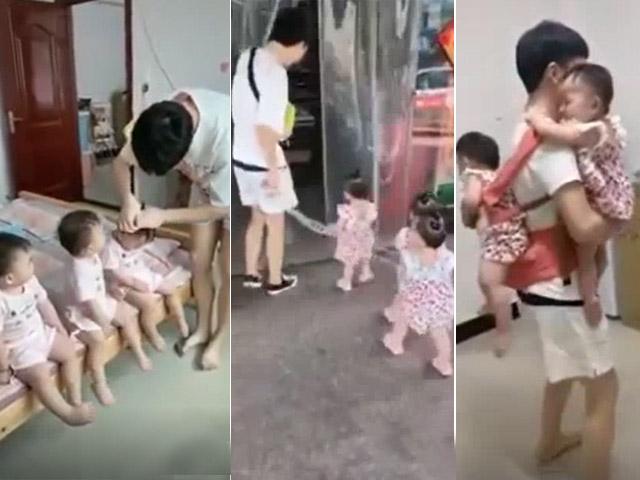 Clip: Ông bố trẻ chăm 3 con gái sinh 3 khiến ai cũng trầm trồ