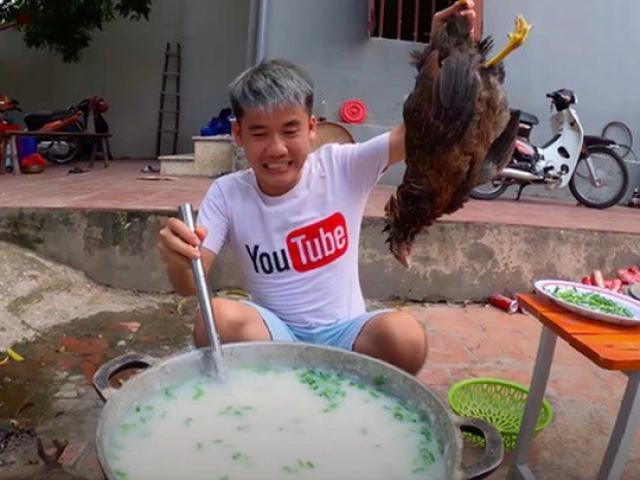 Nấu cháo gà nguyên lông đăng YouTube, con trai bà Tân Vlog bị mời lên làm việc