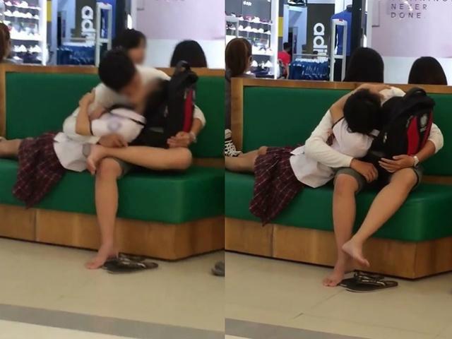 Phản cảm hai học sinh âu yếm giữa trung tâm thương mại