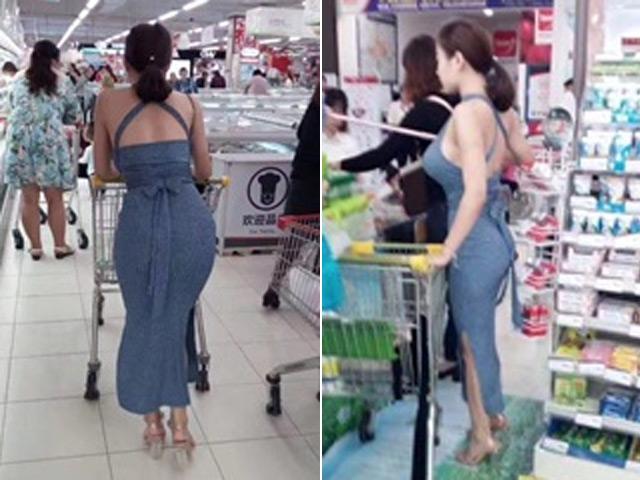 Chỉ đi siêu thị, cô gái cũng gây sốt mạng vì vòng 1 và vòng 3 quá khủng