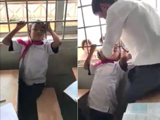 Phì cười clip thầy giáo giải cứu học sinh mắc kẹt khó đỡ