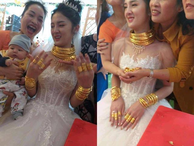 """Cô dâu Cao Bằng đeo vàng kín cổ, người thân phải đi cạnh """"đỡ đần"""""""