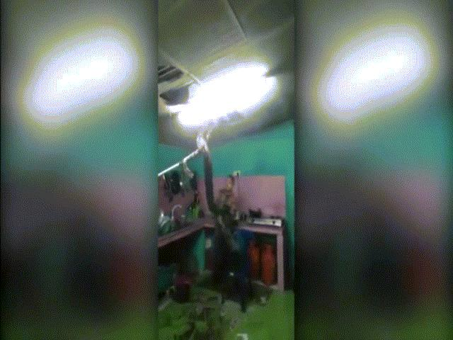 """Video: Trăn """"khủng"""" giằng co với lính cứu hỏa trên trần nhà bếp"""