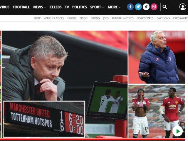 """MU thảm bại 1-6: Báo Anh sốc vì hàng thủ """"tấu hài"""", lo Solskjaer mất ghế"""