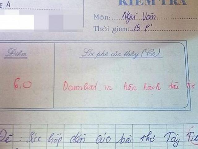 """Chép nguyên văn mẫu vào bài kiểm tra, nam sinh """"đứng hình"""" khi bị cô giáo phê câu này"""