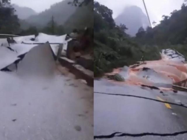 QL12 nứt gãy như động đất, cấm đường lên cửa khẩu Cha Lo