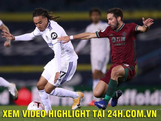 Video highlight trận Leeds United - Wolves:Đôi công hấp dẫn, bàn thắng bất ngờ