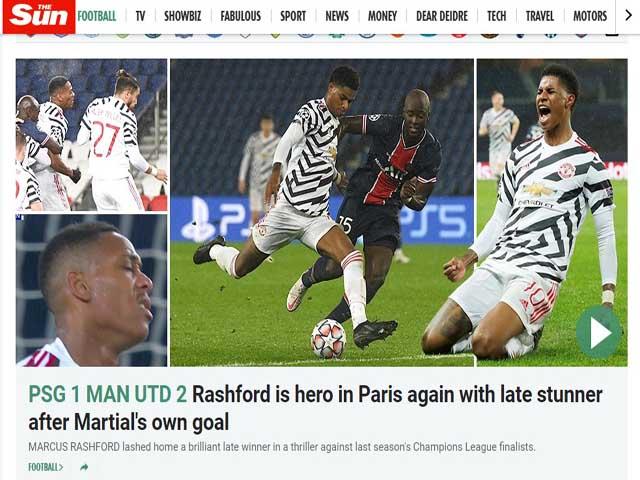 MU xuất sắc quật ngã PSG: Báo Anh ca ngợi Rashford, người Pháp ngán ngẩm
