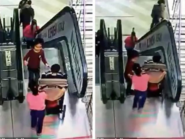 Mải thử đồ, mẹ để 2 con nhỏ ngã nhào xuống thang cuốn