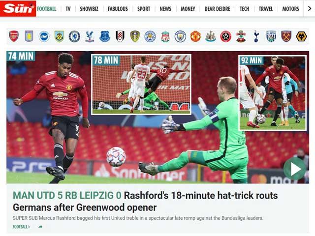 MU đại thắng Leizpig Cúp C1: Báo Anh nức nở khen Rashford như Van Nistelrooy