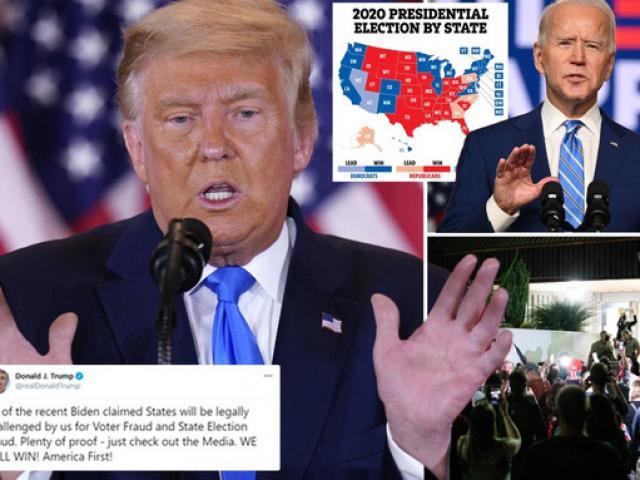 Bầu cử Mỹ: Ông Trump dọa kiện tất cả các bang ông Biden thắng