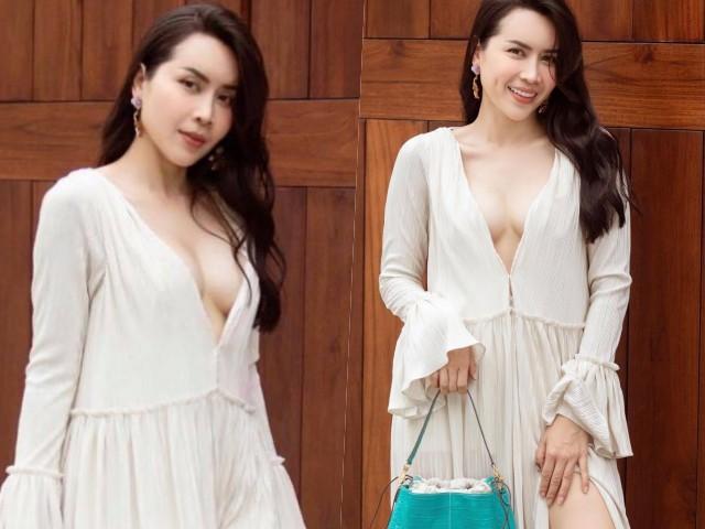 Lưu Hương Giang khoe vòng 1 căng đầy với mốt váy không nội y, bạo chưa từng thấy