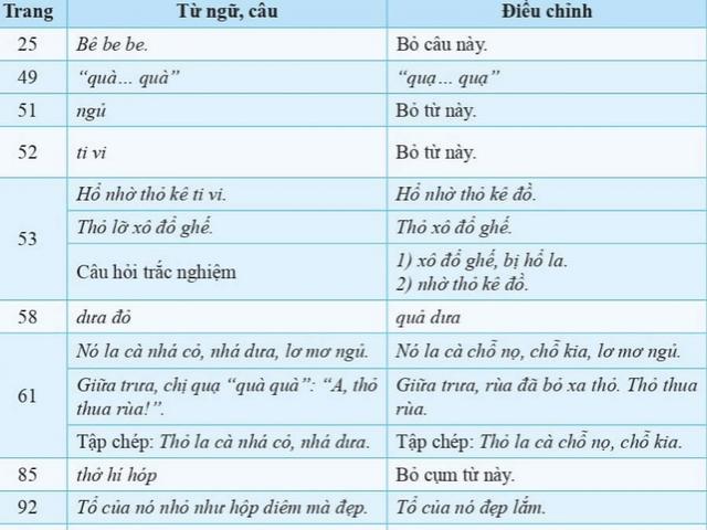 Công bố tài liệu điều chỉnh sách giáo khoa Tiếng Việt lớp 1 bộ Cánh Diều