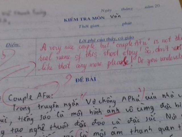 """Sử dụng tiếng Anh trong bài kiểm tra Văn, nam sinh bị cô giáo """"đáp trả"""" cực gắt"""