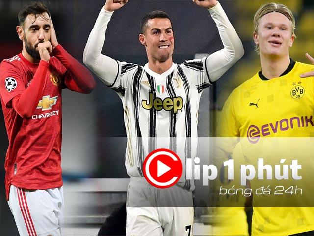 """Ronaldo, Fernandes """"sáng"""" nhất cúp C1, MU hay ông lớn nào có vé đi tiếp? (Clip 1 phút Bóng đá 24H)"""