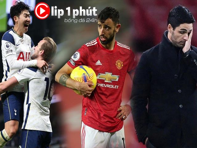 """Ngã ngửa kịch bản MU vượt Tottenham lên đỉnh NHA, Arsenal """"cầm đèn đỏ"""" (Clip 1 phút Bóng đá 24H)"""