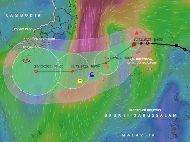 Bão số 14 còn mạnh thêm, hướng vào các tỉnh Sóc Trăng – Cà Mau