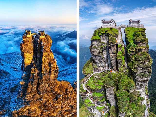 Ngôi đền đôi tuyệt đẹp trên đỉnh núi thánh, du khách phải leo 8000 bậc thang