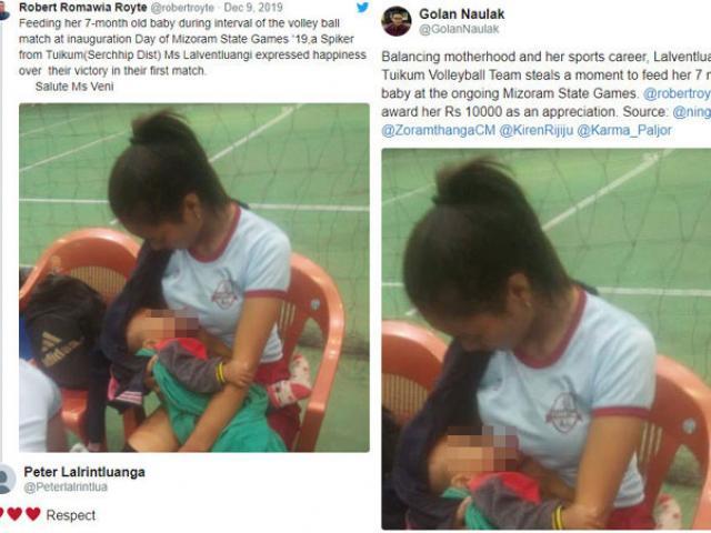 Nữ VĐV bóng chuyền đang thi đấu vào kéo áo cho con bú: Khoảnh khắc xúc động