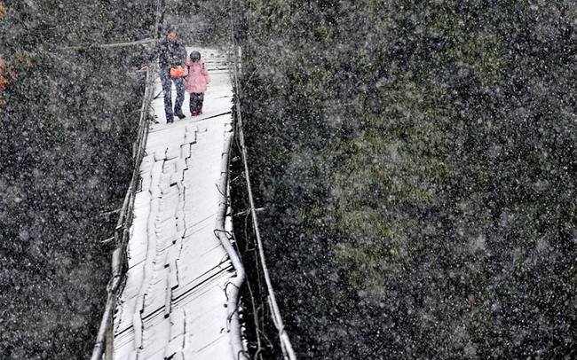 Cô Zhao Jihong và con gái 4 tuổi phải đi trên một cây cầu đang bị hư hại trong tuyết để đến trường nằm ở tỉnh Tứ Xuyên, Trung Quốc.