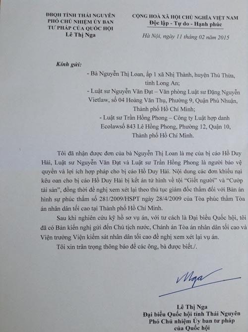 Đại biểu Quốc hội kiến nghị xem lại bản án vụ Hồ Duy Hải - 1