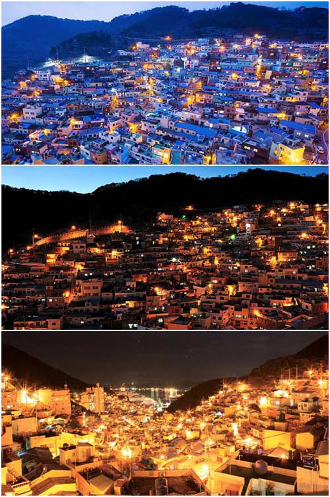 Đêm về, ngôi làng rực sáng trong những ánh đèn vàng.