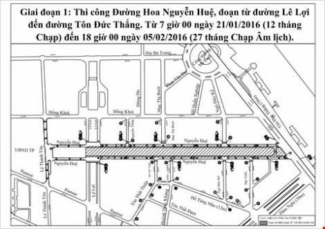 Phân luồng giao thông phục vụ đường hoa Nguyễn Huệ - 1
