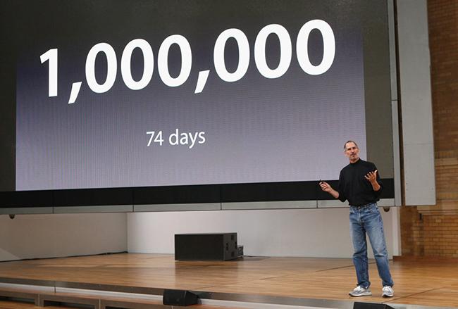 iPhone là thành công lớn của Jobs, chỉ trong vòng 74 ngày kể từ ngày ra mắt, Apple đã bán được 1 triệu máy.