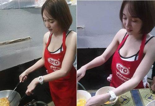 Cô gái bán đồ ăn vặt bất ngờ gây sốt vì thềm ngực khủng - 1