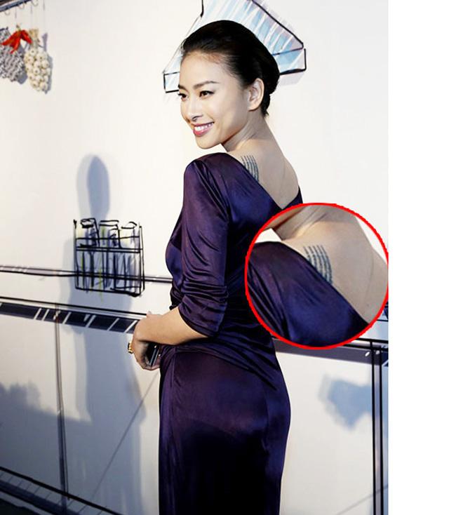Ngô Thanh Vân xăm tiếng Phạn sau bả vai.
