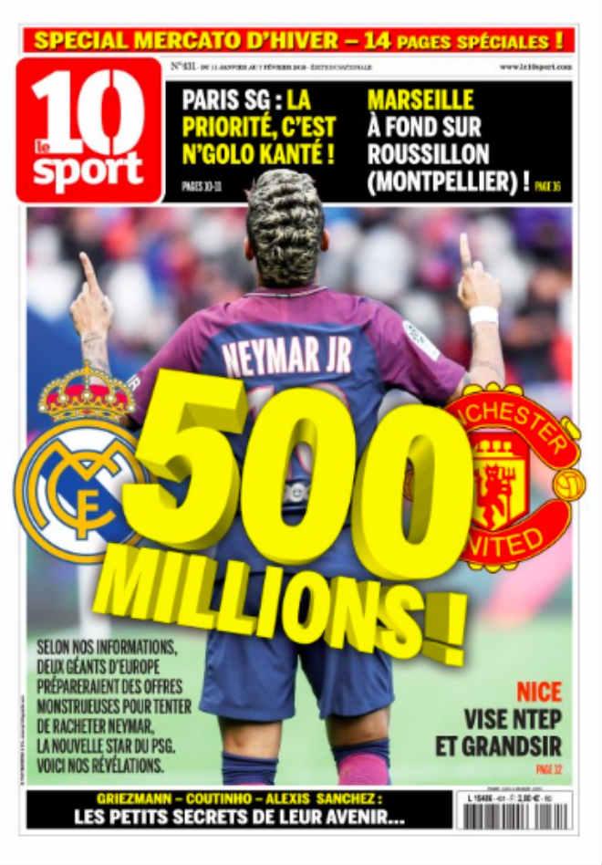 "Rung chuyển ""bom tấn"": MU qua mặt Real, chi 500 triệu euro mua Neymar - 1"