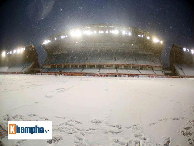 Sân Thường Châu tuyết dày 30cm, chung kết U23 Việt Nam - U23 Uzbekistan có hoãn?