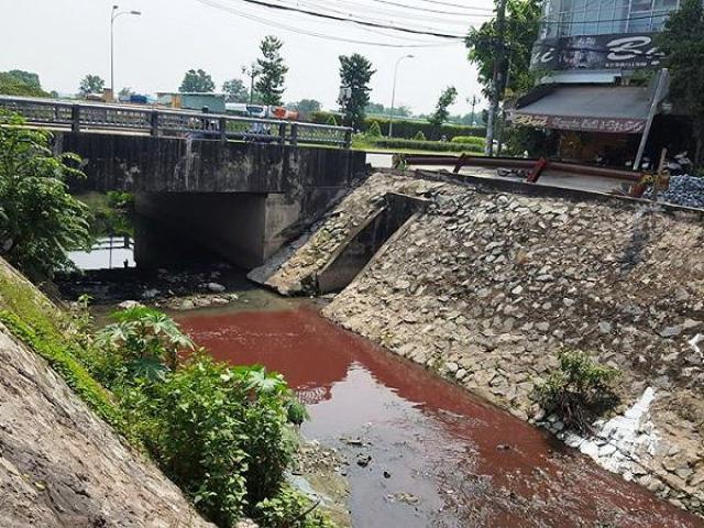 Kinh ngạc với màu nước kênh gần sân bay Tân Sơn Nhất