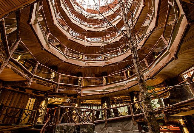 Nằm trong khu bảo tồn sinh học Huilo Huilo của Chile, khách sạn Nothofagus được ví như vương quốc của những ngôi nhà trên cây...