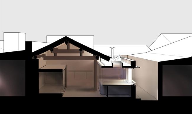 """Để tận dụng khoảng không bên trong cho các mục đích khác nhau, các kiến trúc sư thiết lập 2 """"buồng"""" dùng làm không gian sinh hoạt chung và không gian riêng tư."""