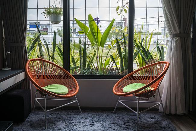 Phần ban công cửa sổ được thiết kế tạo thành một vườn cây mini mang lại không gian thiên nhiên như tràn vào cả phòng ngủ.